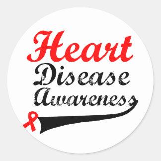 Heart Disease Awareness Classic Round Sticker