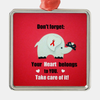 Heart Disease Awareness/Valentine's Day Silver-Colored Square Decoration