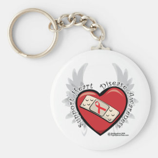 Heart Disease Band Aid Basic Round Button Key Ring