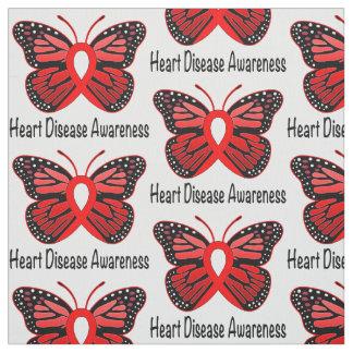 Heart Disease Butterfly Awareness Ribbon Fabric