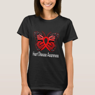Heart Disease Butterfly Awareness Ribbon T-Shirt
