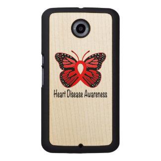 Heart Disease Butterfly Awareness Ribbon Wood Phone Case