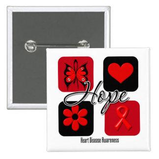 Heart Disease Love Inspire Awareness 15 Cm Square Badge