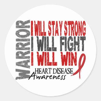 Heart Disease Warrior Round Sticker