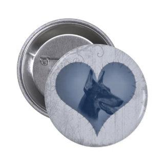 Heart Doberman Pinscher Pinback Buttons
