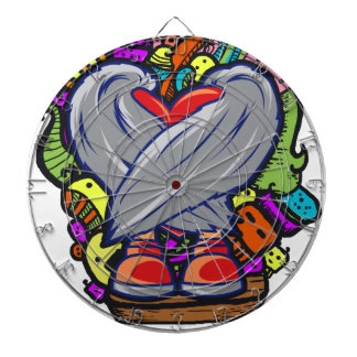 Heart Doodle Character Dartboard