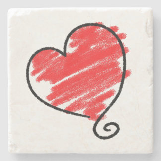 Heart Doodle Marble Stone Coaster