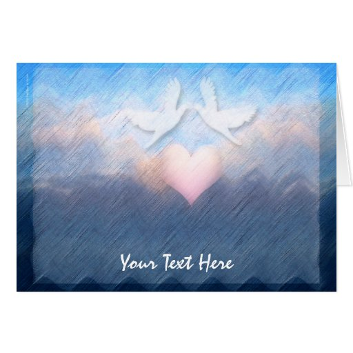 Heart Doves Beach Abstract Greeting Card