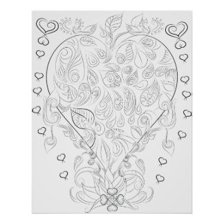 heart drawing adult colouring poster