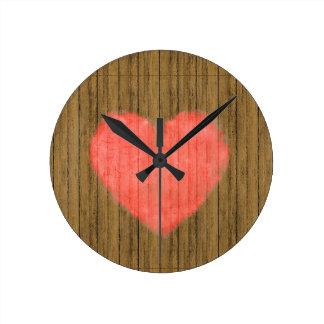 Heart Drawing in Wood Wall Wall Clock