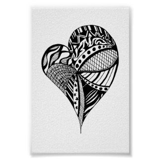Heart Drawing | Sketch of a Heart with Patterns Poster