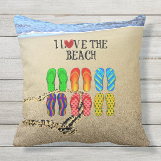 Heart drawn in the sand, I Love the Beach Outdoor Cushion