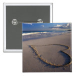 Heart Drawn on the Beach 15 Cm Square Badge