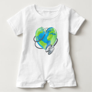 Heart Earth World Globe Stethoscope Health Concept Baby Bodysuit