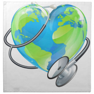 Heart Earth World Globe Stethoscope Health Concept Napkin
