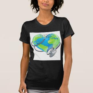 Heart Earth World Globe Stethoscope Health Concept T-Shirt