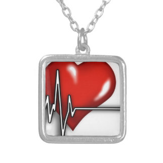 Heart ECG Silver Plated Necklace