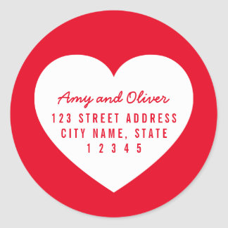 Heart Editable Background Color Couple Address Classic Round Sticker