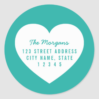 Heart Editable Background Color Family Address Classic Round Sticker