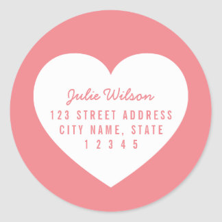 Heart Editable Background Color Home Address Classic Round Sticker