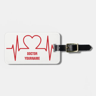 Heart EKG custom luggage tag