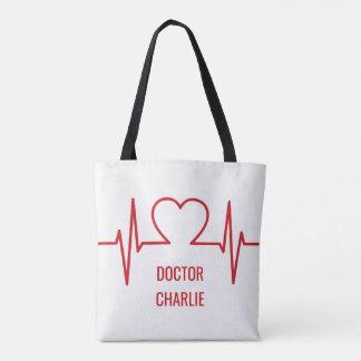 Heart EKG custom name & occupation bags