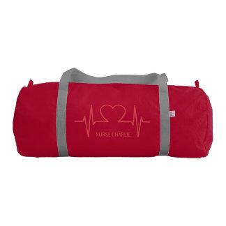 Heart EKG custom name & occupation duffle bag