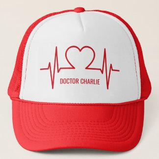 Heart EKG custom name & occupation hats