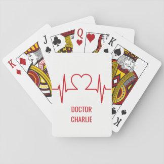 Heart EKG custom name & occupation playing cards
