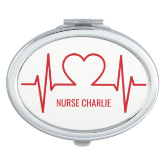 Heart EKG custom name & occupation pocket mirror Compact Mirror
