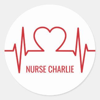 Heart EKG custom name & occupation stickers
