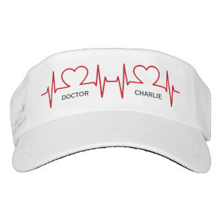 Heart EKG custom name & occupation visor