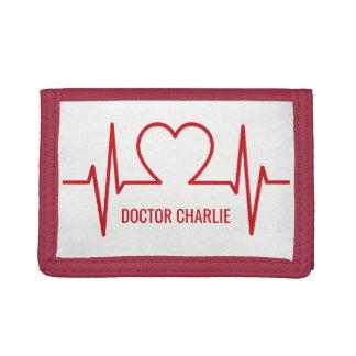 Heart EKG custom name & occupation wallets
