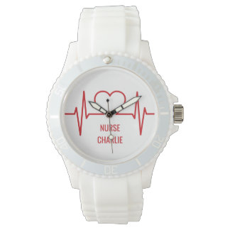 Heart EKG custom name & occupation watches