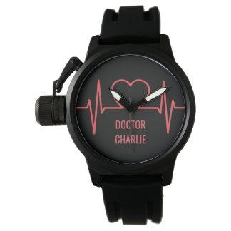Heart EKG custom name & occupation watches