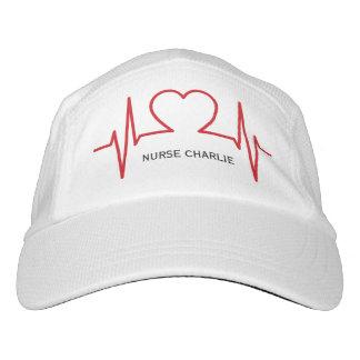Heart EKG custom name & text hats