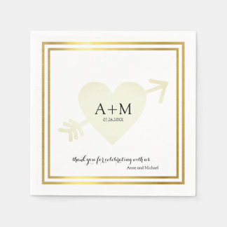 heart elegant wedding celebration reception paper serviettes