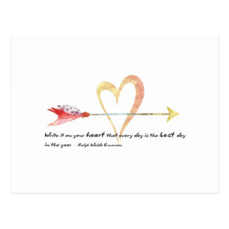 Heart Emerson Quote Postcard