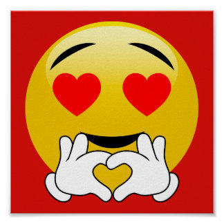 Heart Emoji With Love Hands Red Poster