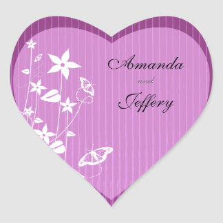 Heart Envelope Seal   Pink Flower Butterfly Heart Sticker