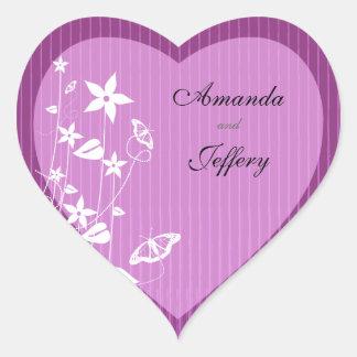 Heart Envelope Seal | Pink Flower Butterfly Heart Sticker