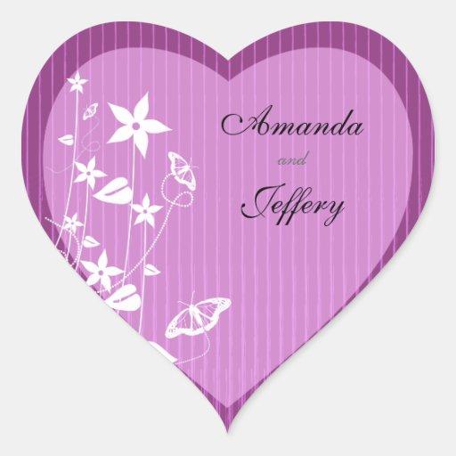 Heart Envelope Seal | Pink Flower Butterfly Stickers