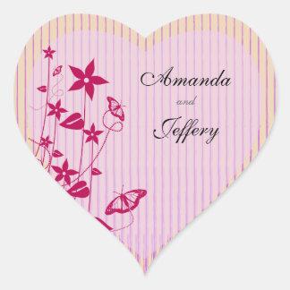 Heart Envelope Seal  Pink & Red Flower Butterfly Heart Sticker