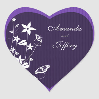 Heart Envelope Seal | Purple Flower Butterfly Heart Sticker