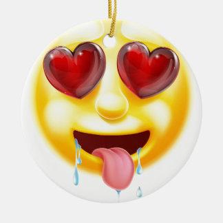 Heart Eyes Emoji Emoticon Round Ceramic Decoration