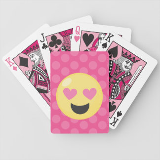 Heart Eyes Emoji Polka Dots Bicycle Playing Cards