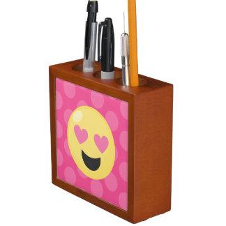 Heart Eyes Emoji Polka Dots Desk Organiser