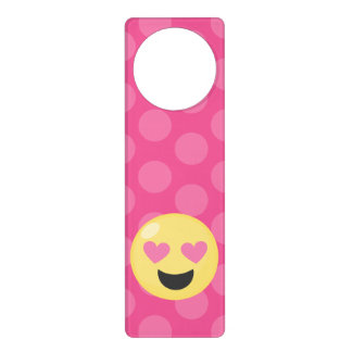 Heart Eyes Emoji Polka Dots Door Hanger