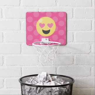 Heart Eyes Emoji Polka Dots Mini Basketball Hoop