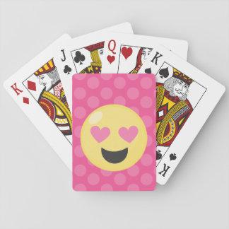 Heart Eyes Emoji Polka Dots Playing Cards
